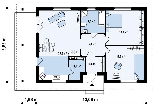 Первый этаж 94,6м² дома Z55 dk