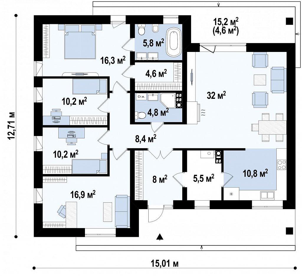 Первый этаж 130,1 м² дома Z459
