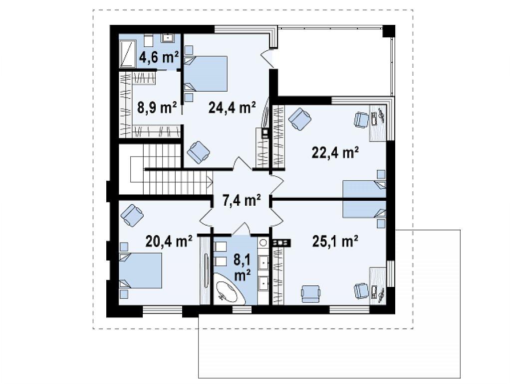 Второй этаж 121,3 м² дома Z156 A