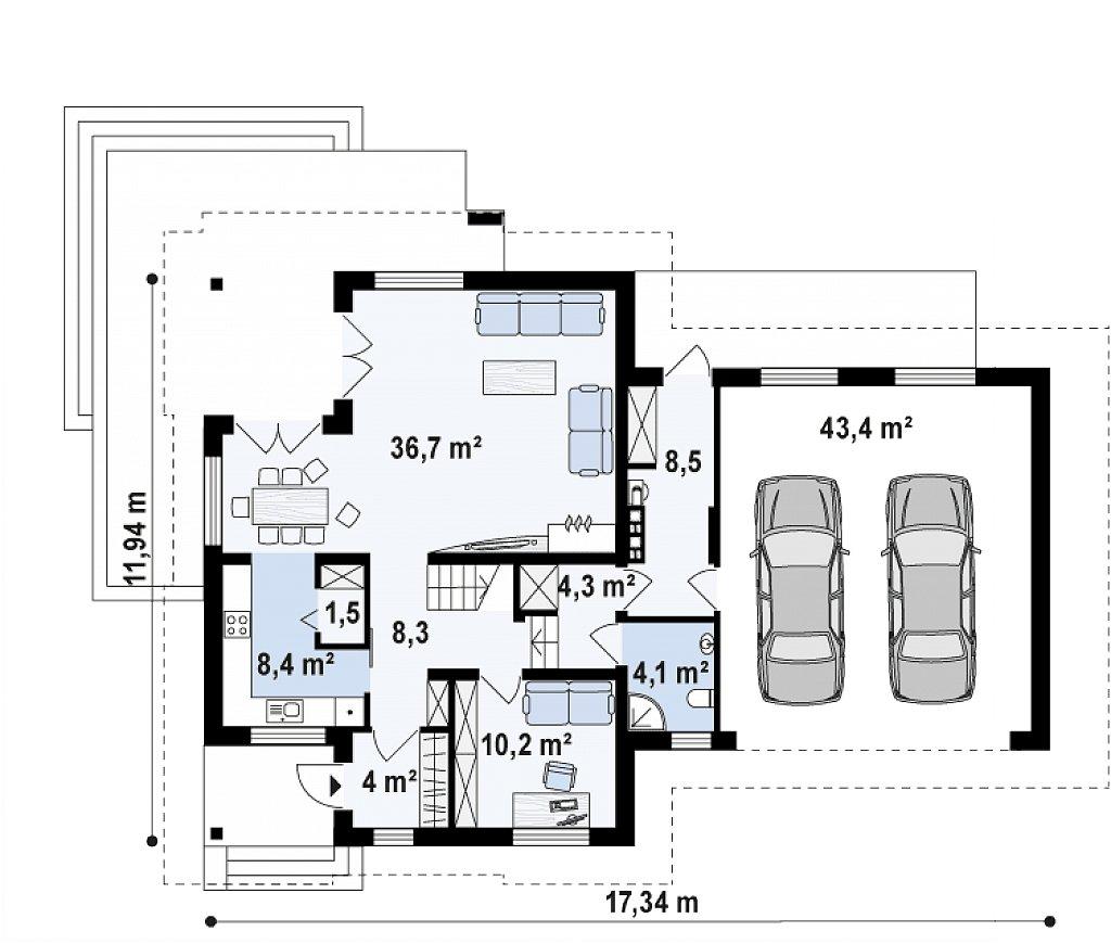 Первый этаж 77,5 / 129,4  м² дома Z284 GP2