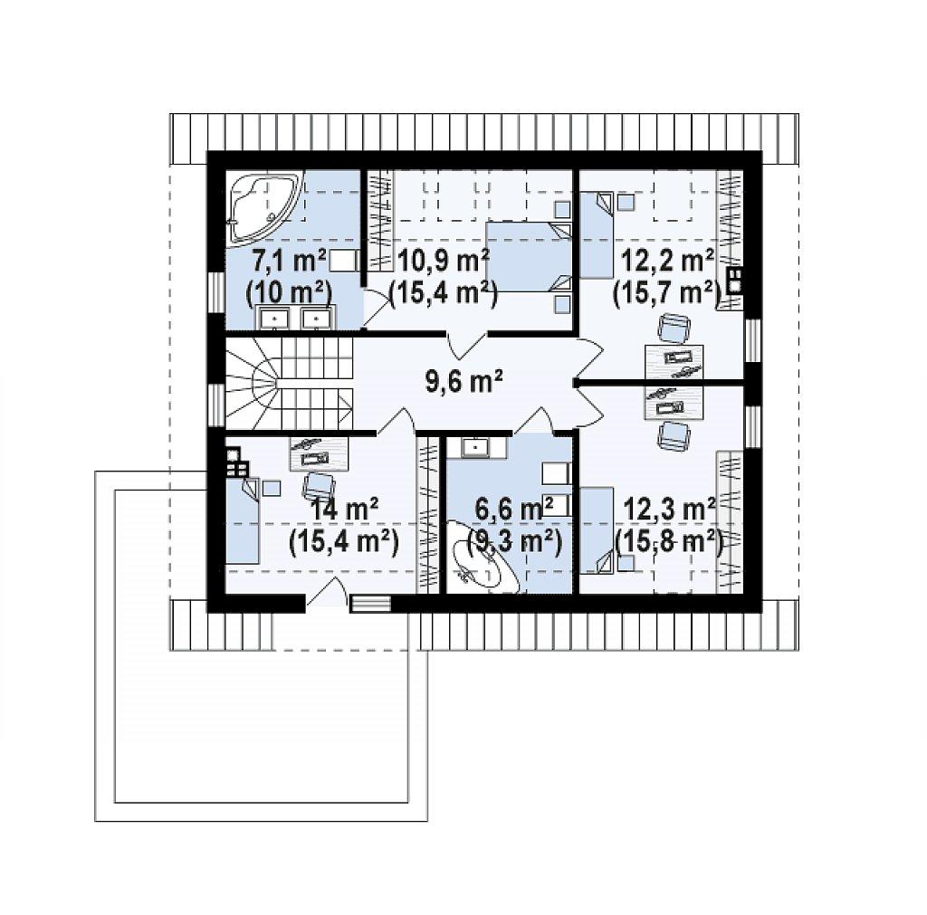 Второй этаж 72,6 / 91,1 м² дома Z320