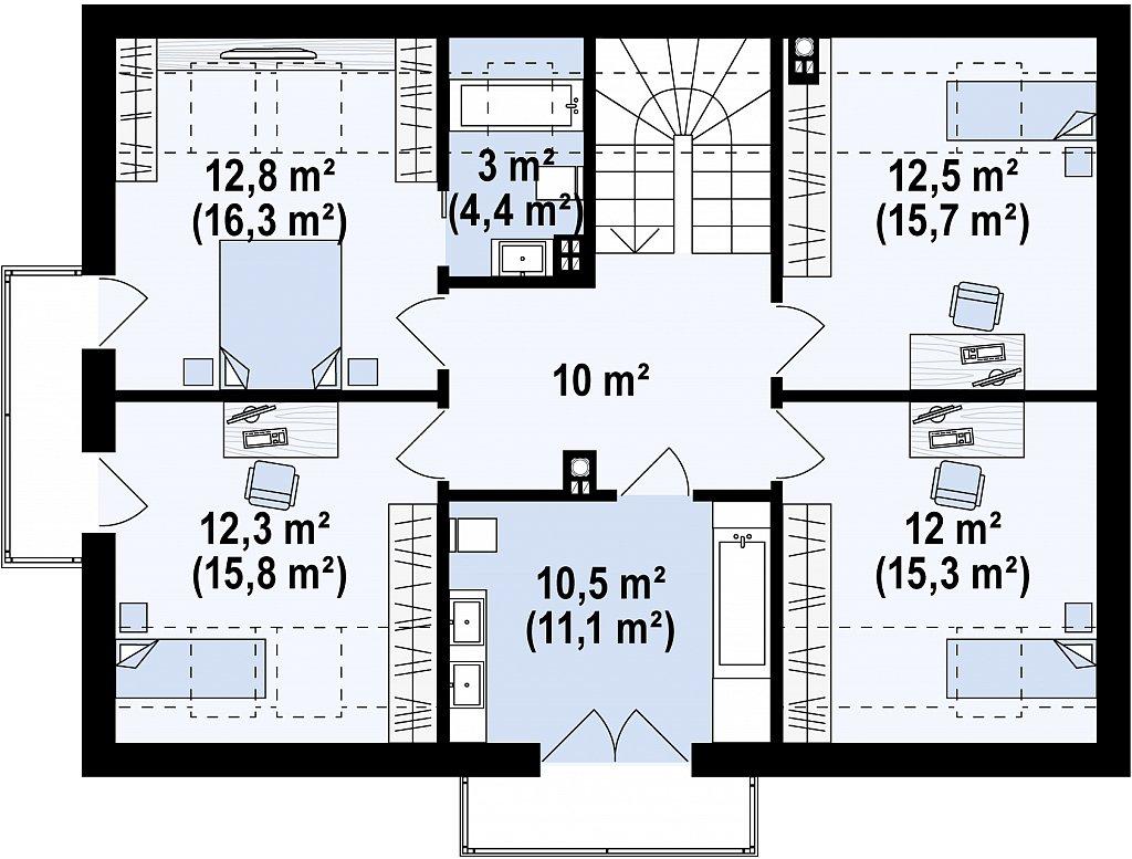 Второй этаж 72,9 / 88,5 м² дома Z322