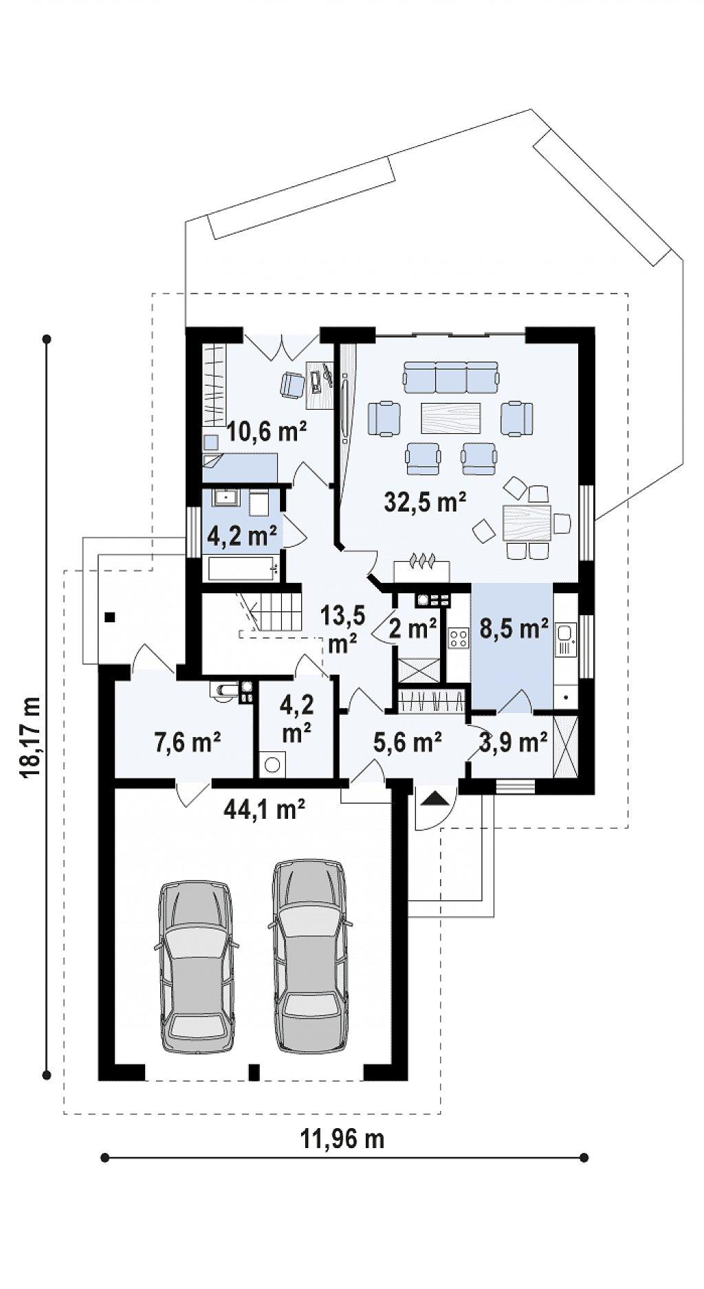 Первый этаж 85,1 / 136,7 м² дома Z325