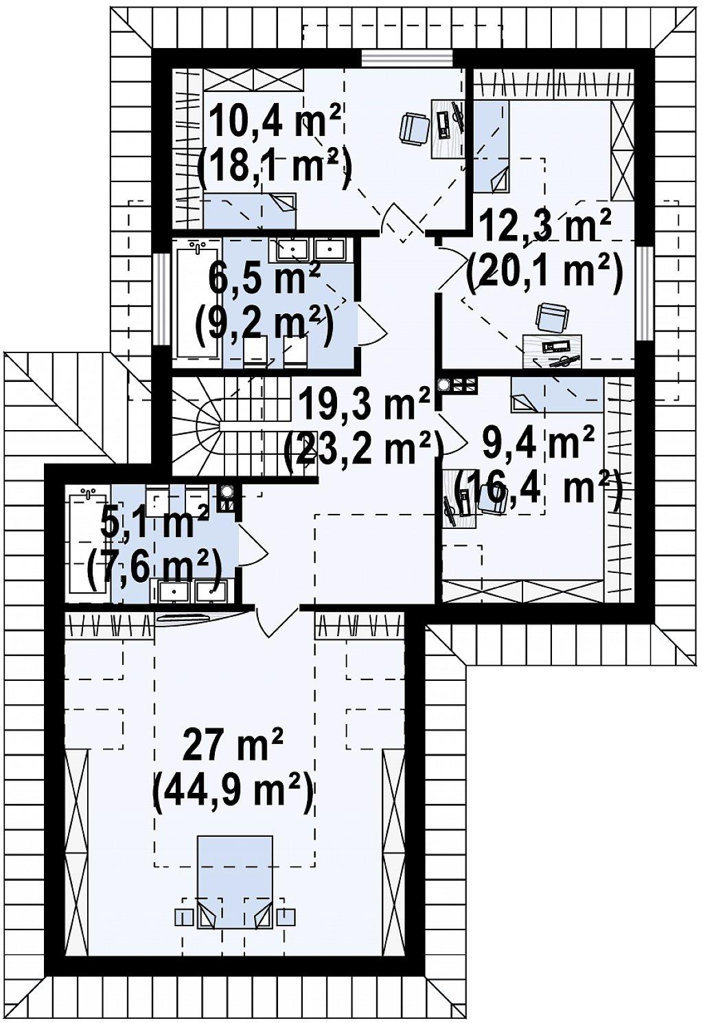 Второй этаж 90,0 / 139,4 м² дома Z325