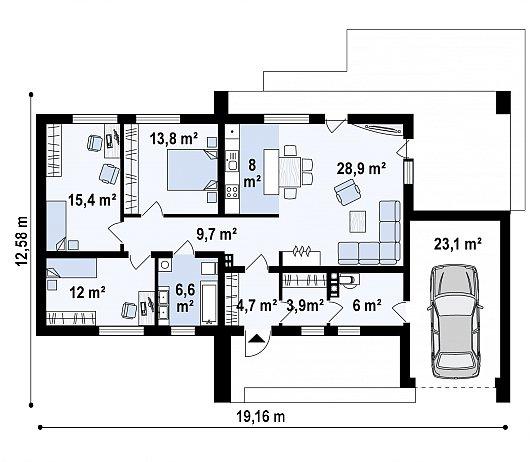 Первый этаж 108,9 / 132,0 м² дома Z53 A