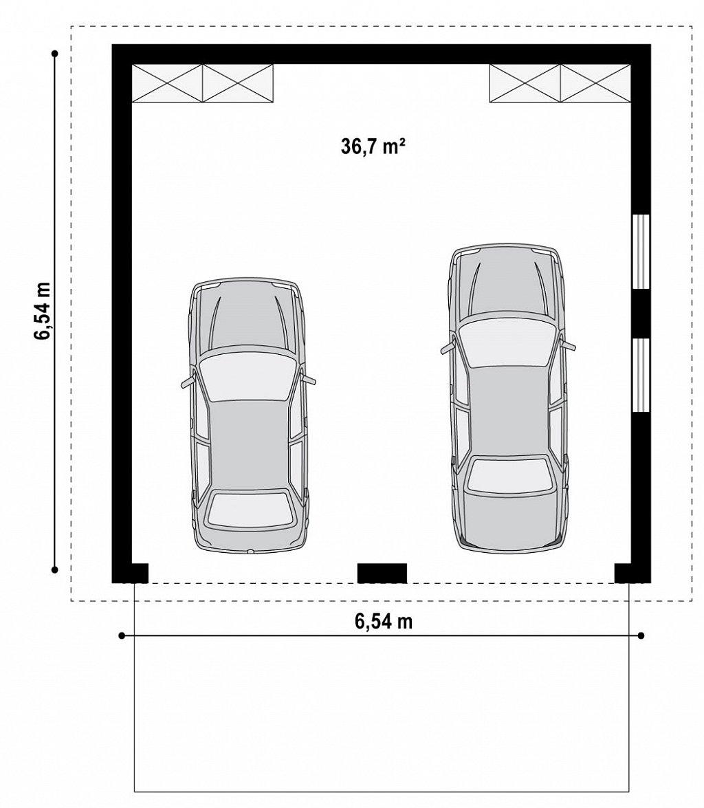 Первый этаж 36,7 м² гаража Zg11