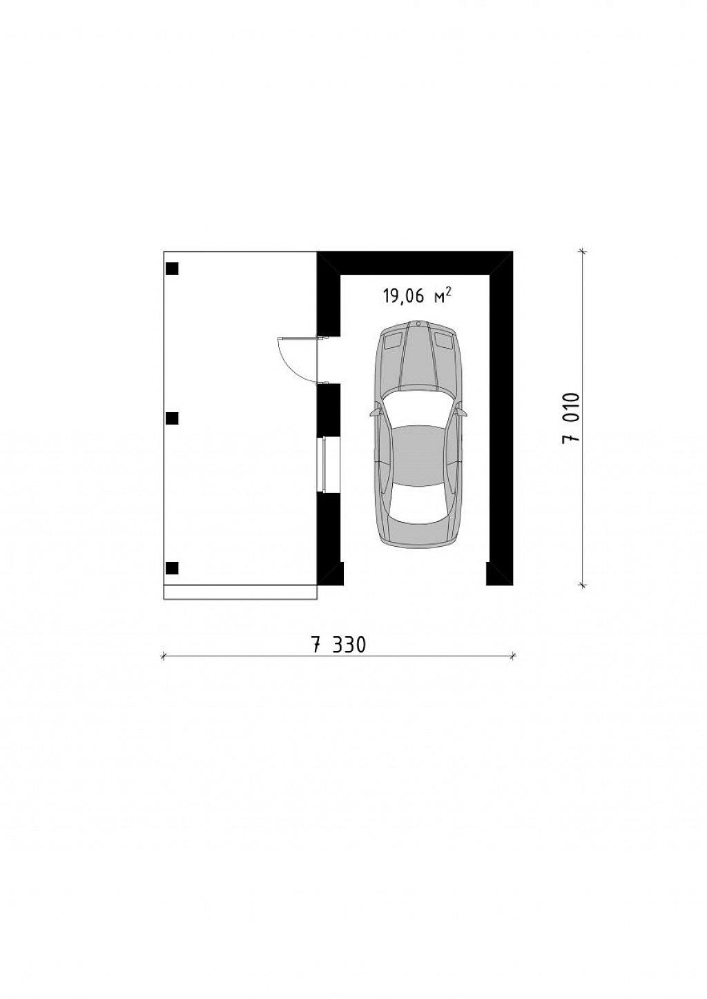 Площадь 18,2 м² гаража Zg13