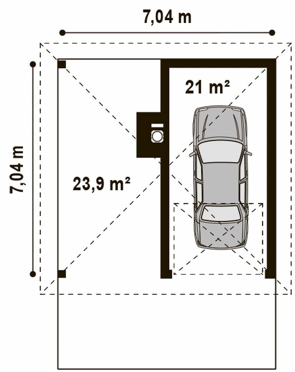 Площадь 21м² гаража Zg14