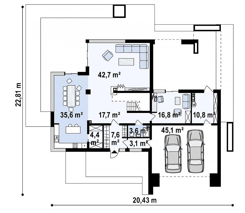 Первый этаж 131,4 / 187,3 м² дома Zx127