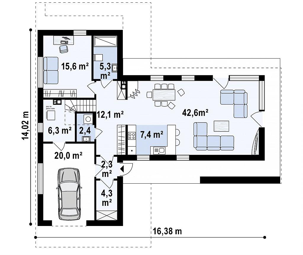 Первый этаж 92,8 / 121,4 м² дома Zx70