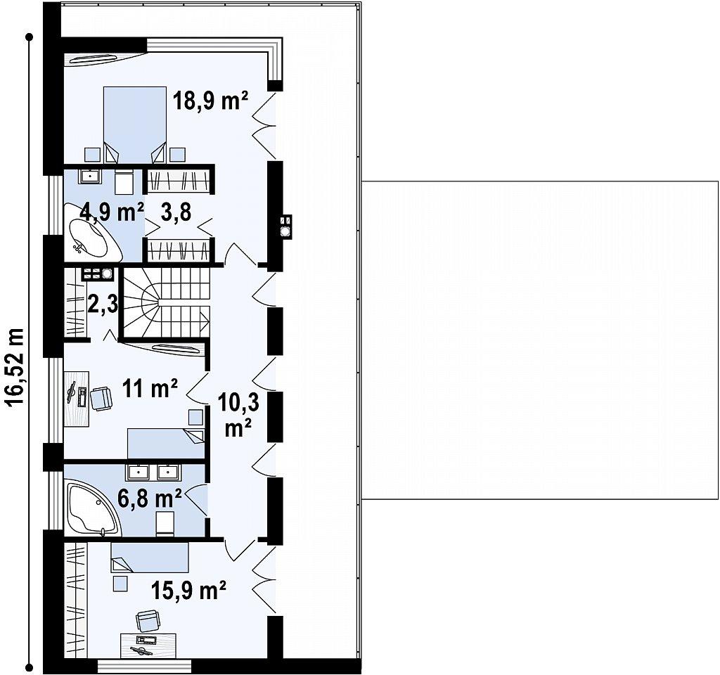 Второй этаж 74,0  м² дома Zx70