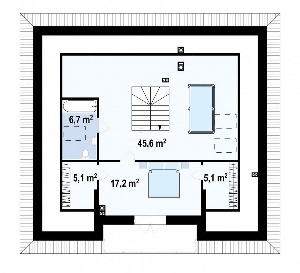 Второй этаж 79,7 м² дома Z10 stu bk minus