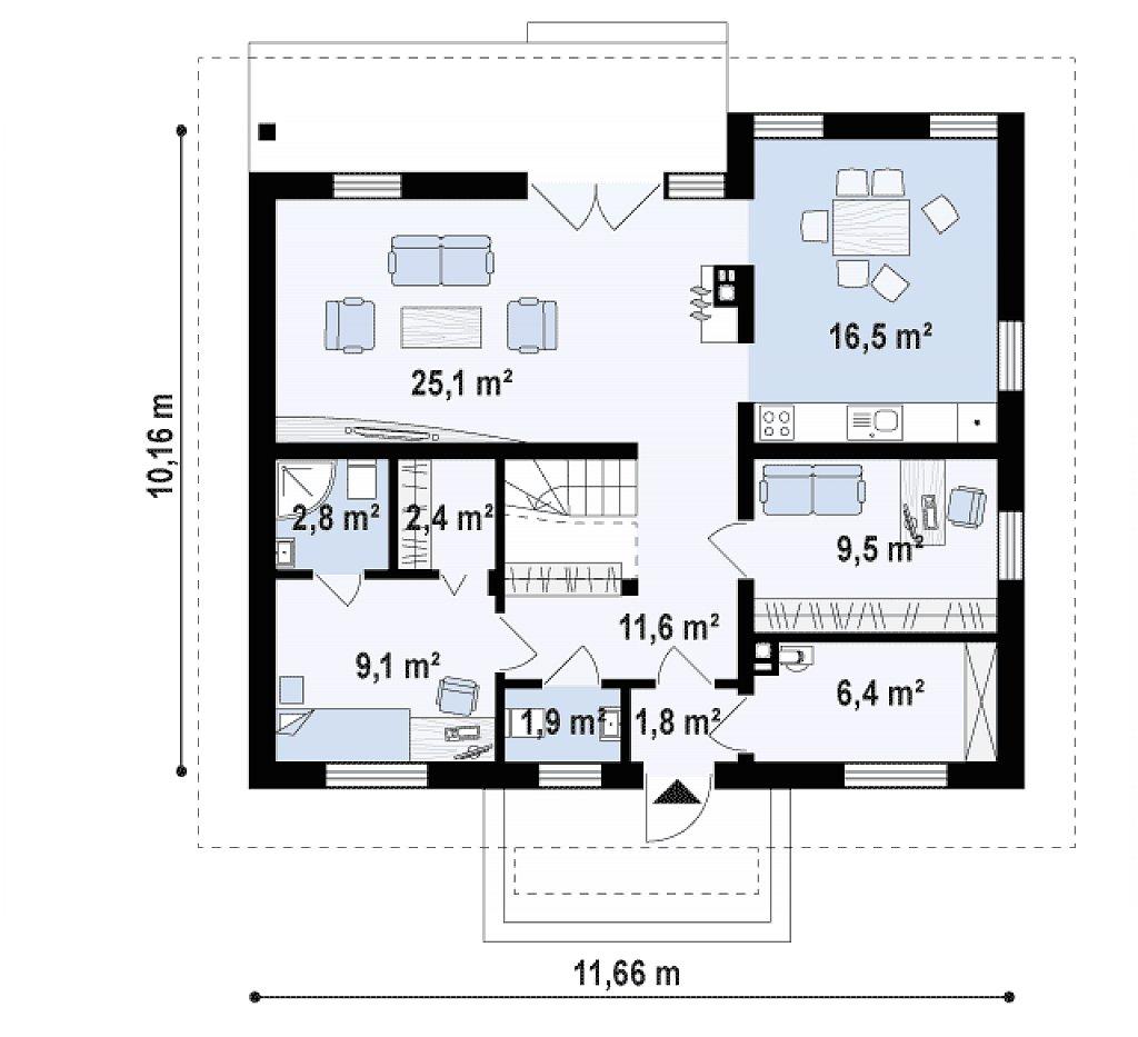 Первый этаж 87,1 м² дома Z121 A