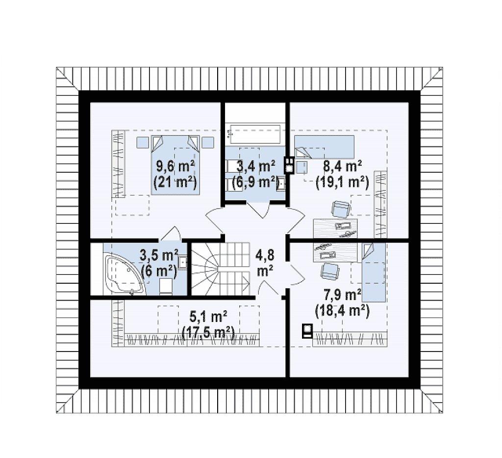 Второй этаж 37,9 м² дома Z121 A