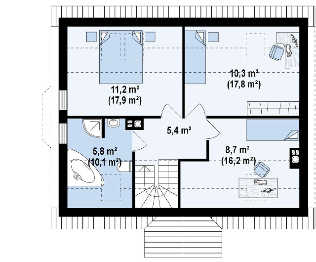 Второй этаж 41,9 / 67,4 м² дома Z14w