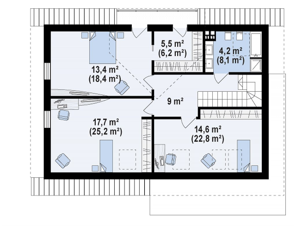 Второй этаж 64,4 / 89,7 м² дома Z160A