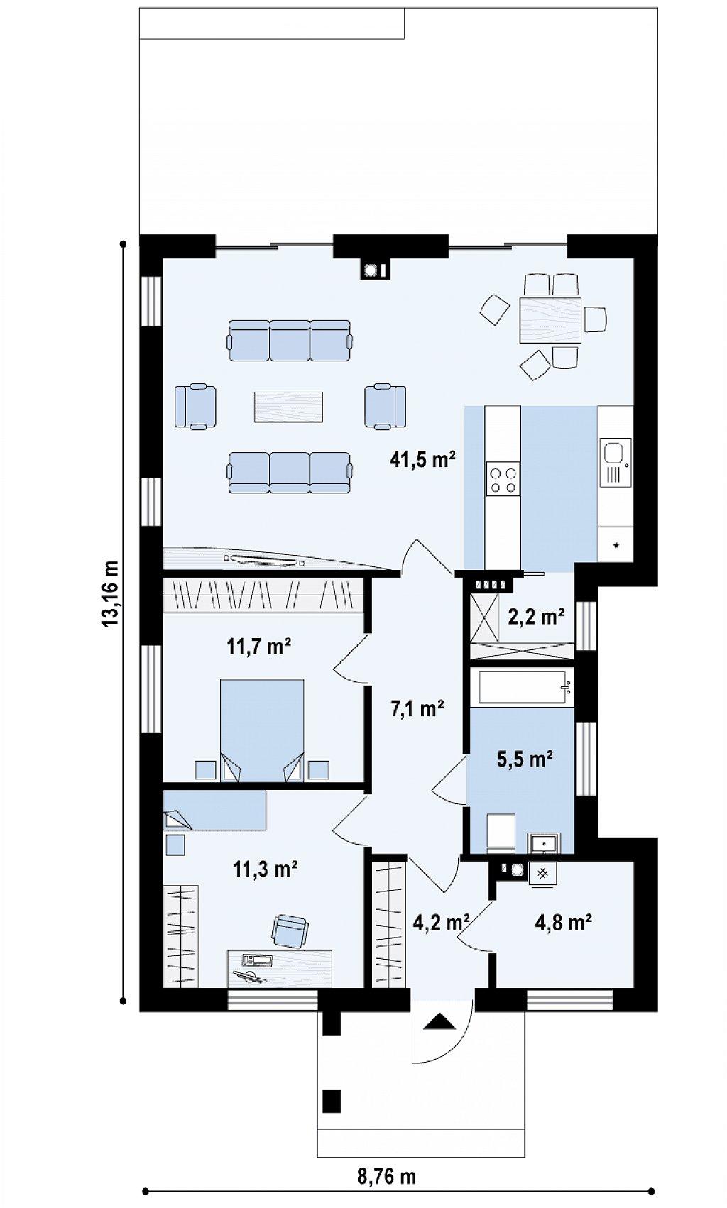 Первый этаж 88,3 м² дома Z329