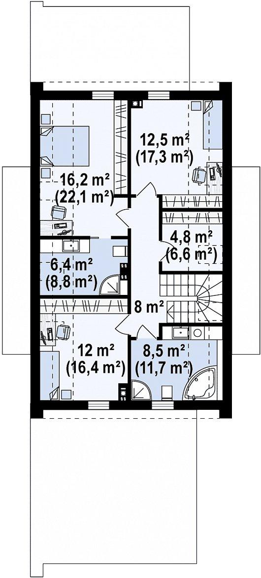 Второй этаж 68,4 / 90,9 м² дома Z330 P