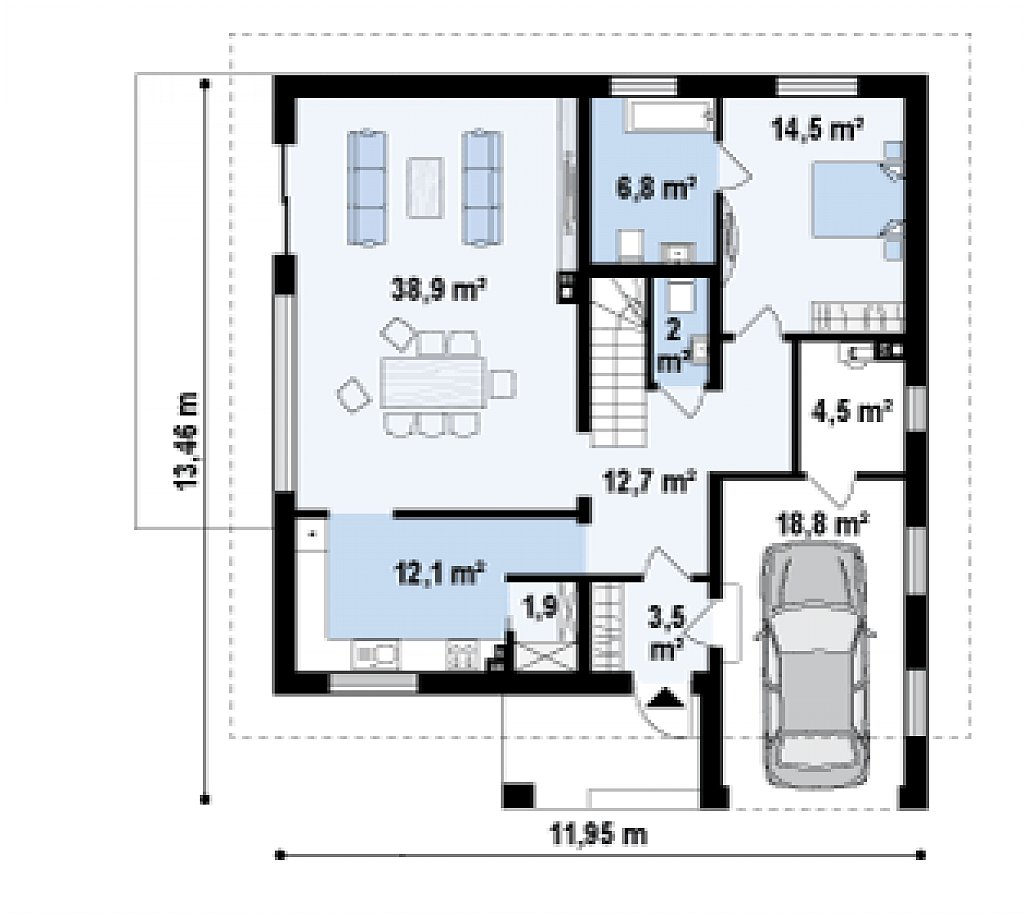 Первый этаж 97,4 / 116,2 м² дома Z331