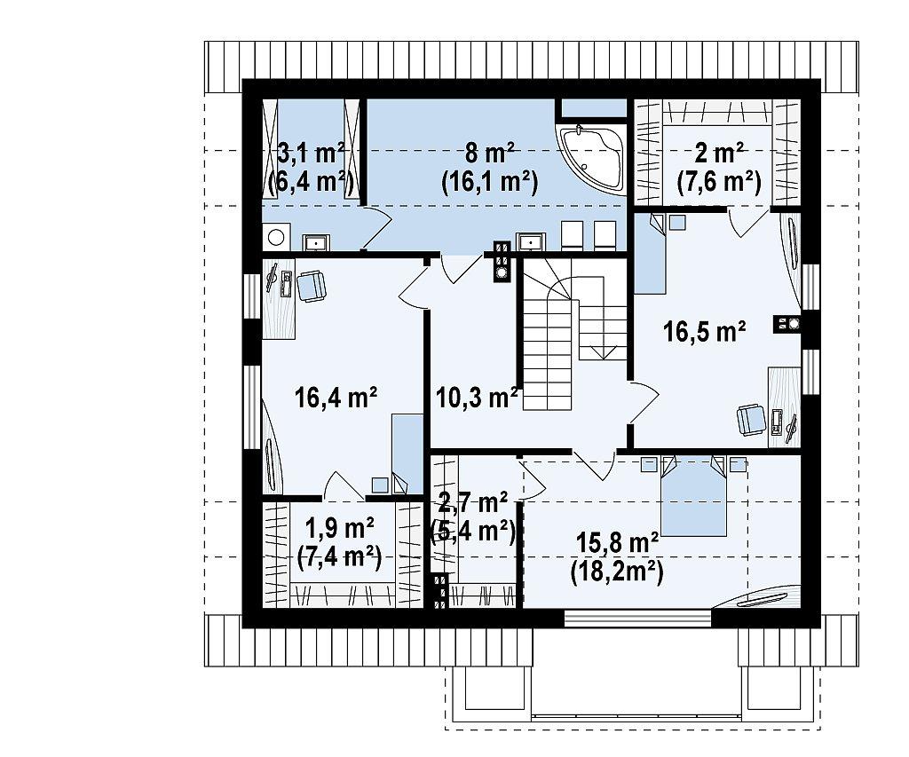 Второй этаж 76,5 / 104,0 м² дома Z331
