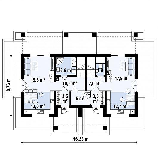 Второй этаж 83,6 / 102,1 м² дома Z351