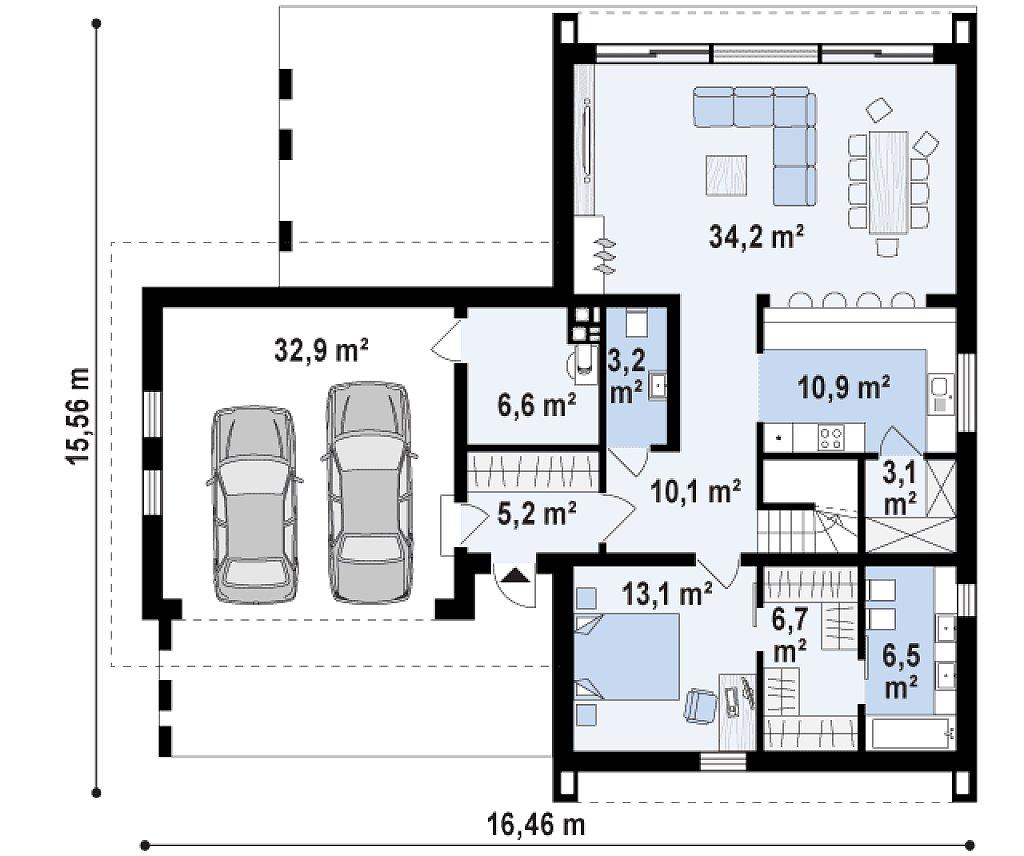 Первый этаж 99,7 / 132,7 м² дома Z357