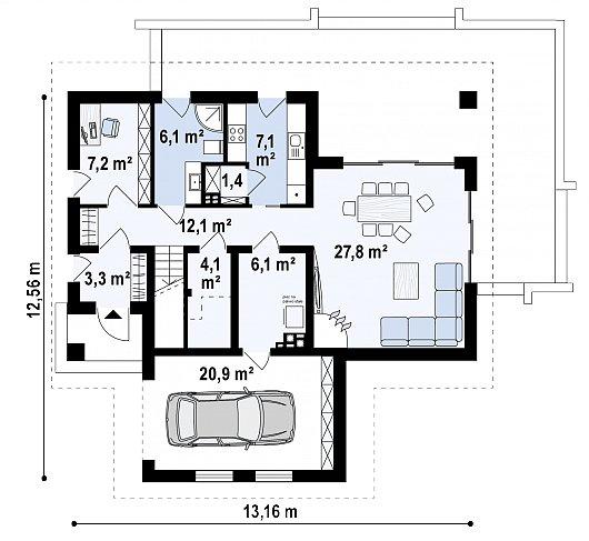 Первый этаж 95,0 м² дома Z365