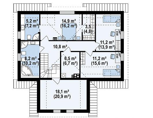 Второй этаж 71,6 / 89,7 м² дома Z365