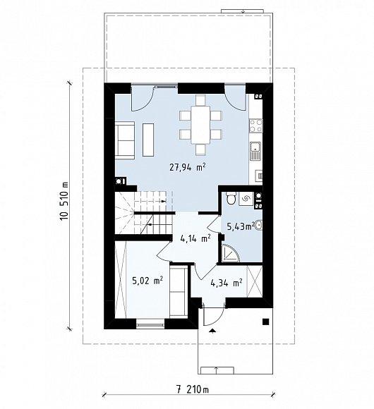 Первый этаж 46,9 м² дома Z38V1