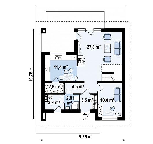 Первый этаж 65,9 м² дома Z62 A minus