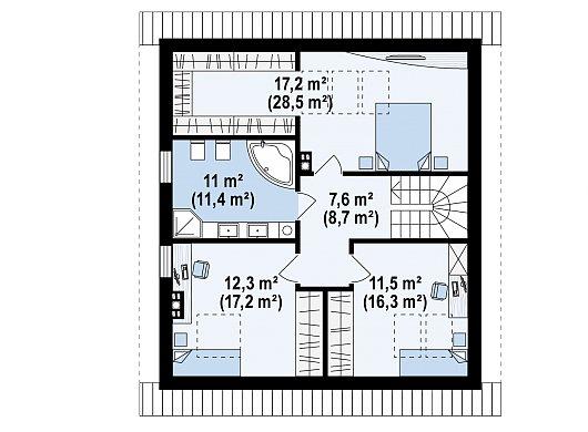 Второй этаж 59,6 / 82,1 м² дома Z62 A minus