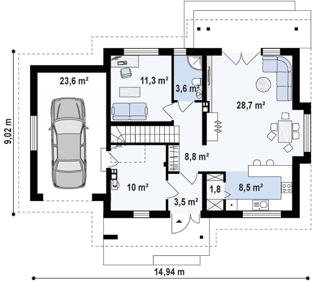 Первый этаж 76,3 / 99,8 м² дома Z92 GL