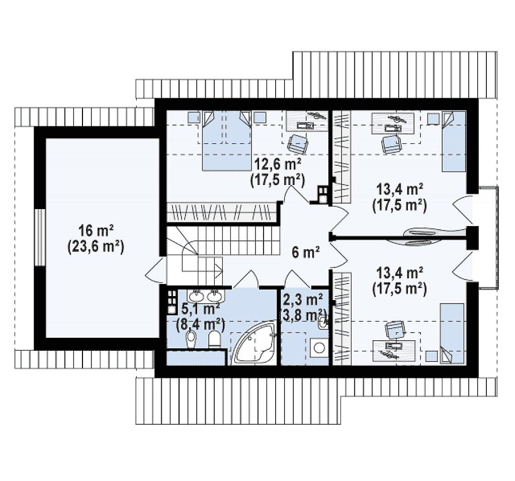 Второй этаж 52,7 / 94,3 м² дома Z92 GL