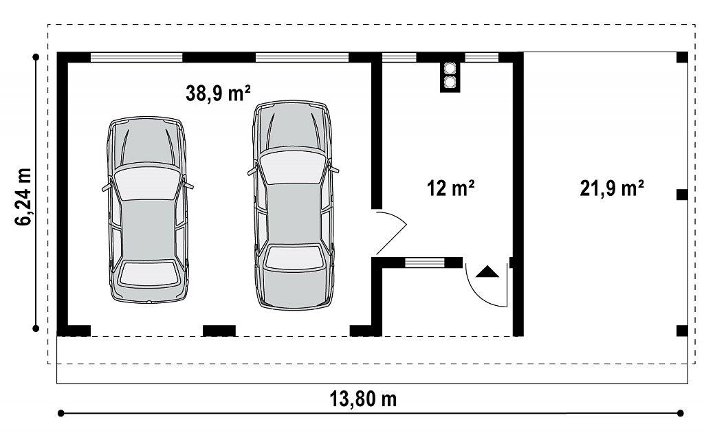 Первый этаж 50,9 м² гаража Zg4