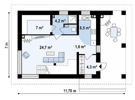 Первый этаж 50,3 м² бани Zp4