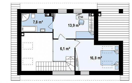 Второй этаж 44,6 м² бани Zp4