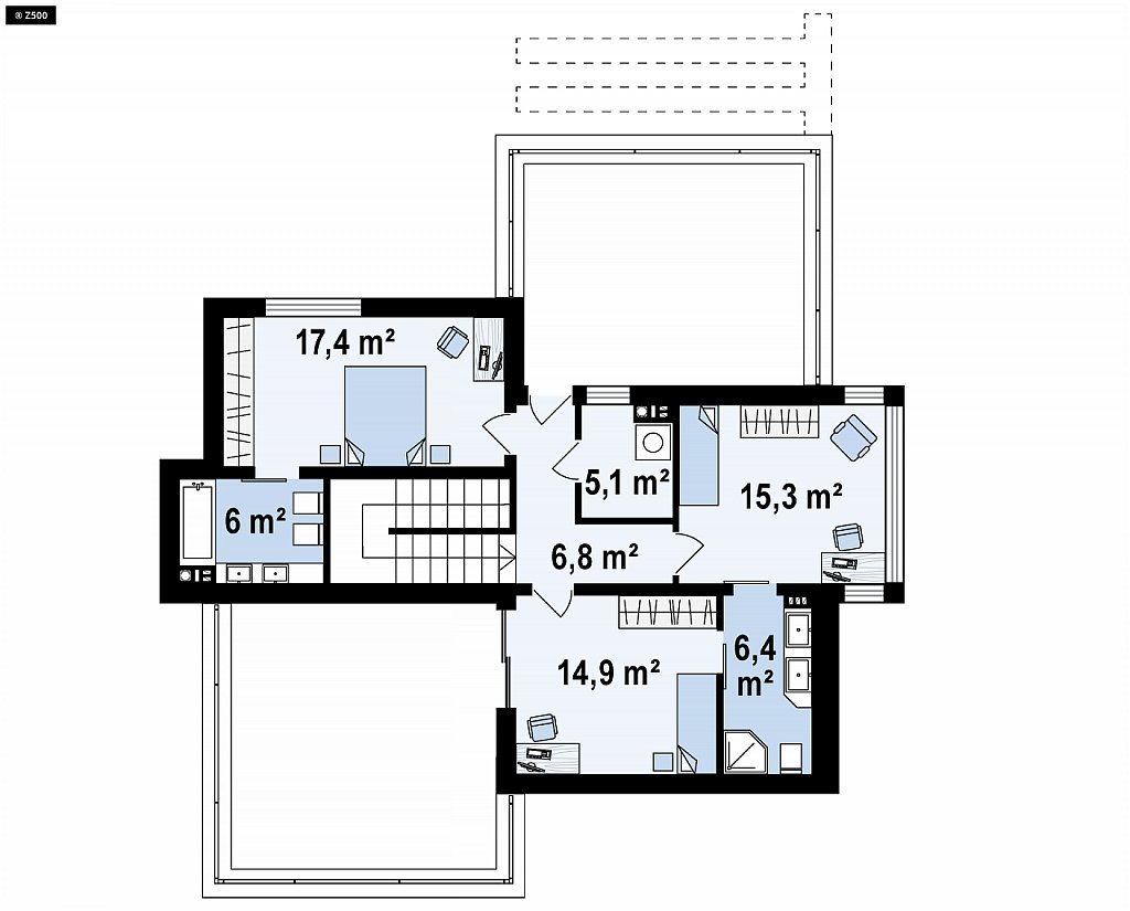 Второй этаж 71,9 м² дома Zr17 A