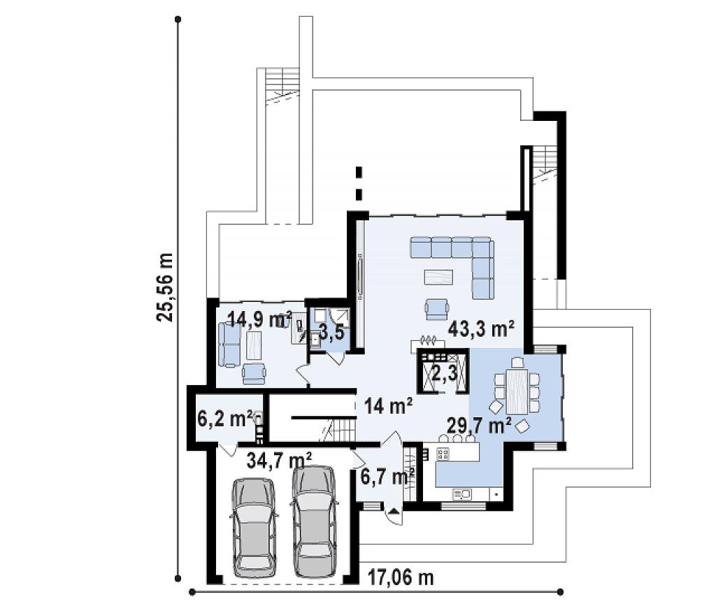 Первый этаж 121,2 / 155,9 м² дома Zr17
