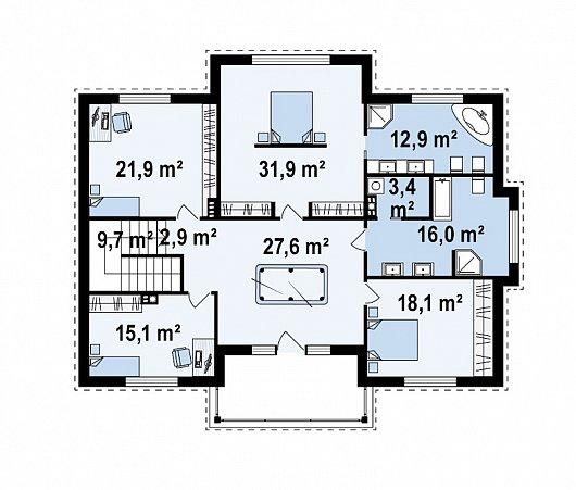 Второй этаж 159,5 м² дома Zx113 bg