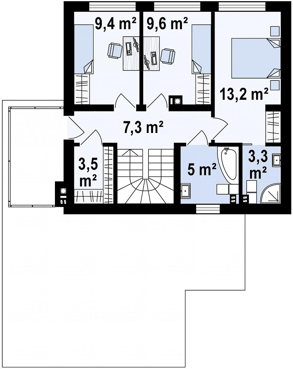 Второй этаж 51,3 м² дома Zx134