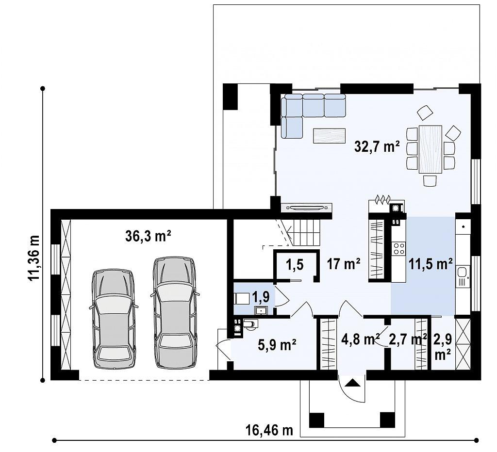 Первый этаж 117,1 м² дома Zx136