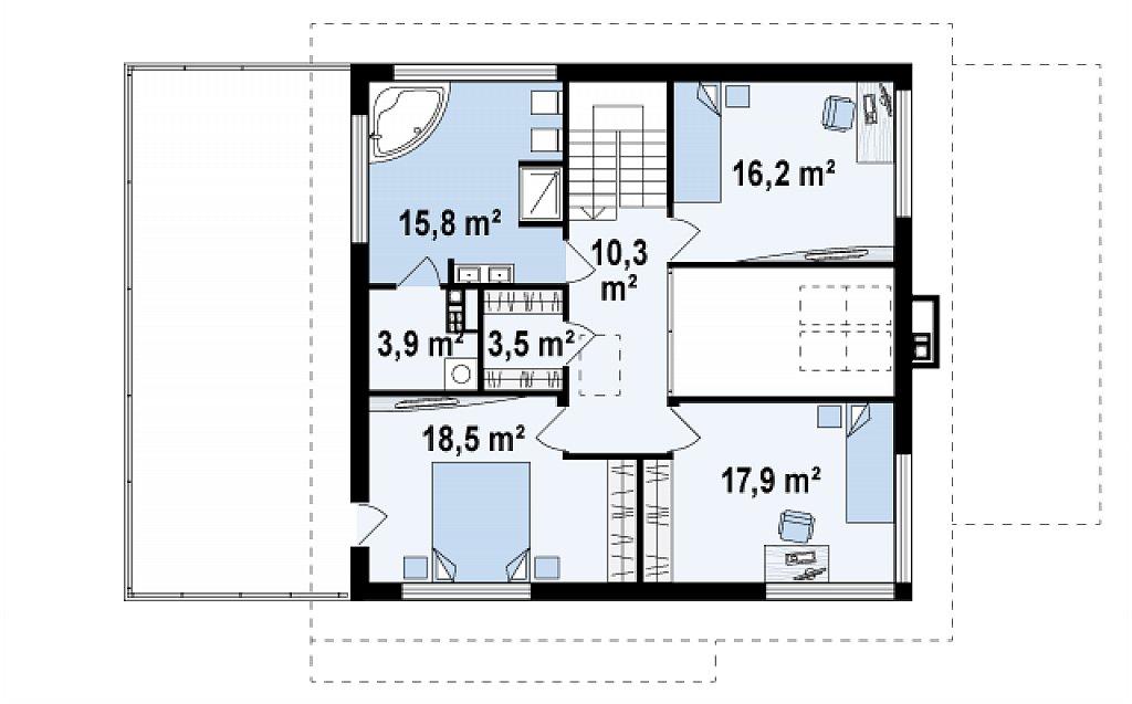 Второй этаж 86,1 м² дома Zx2 gl2