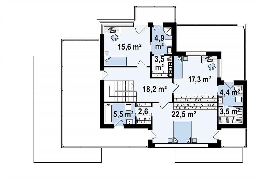 Второй этаж 98,0 м² дома Zx22