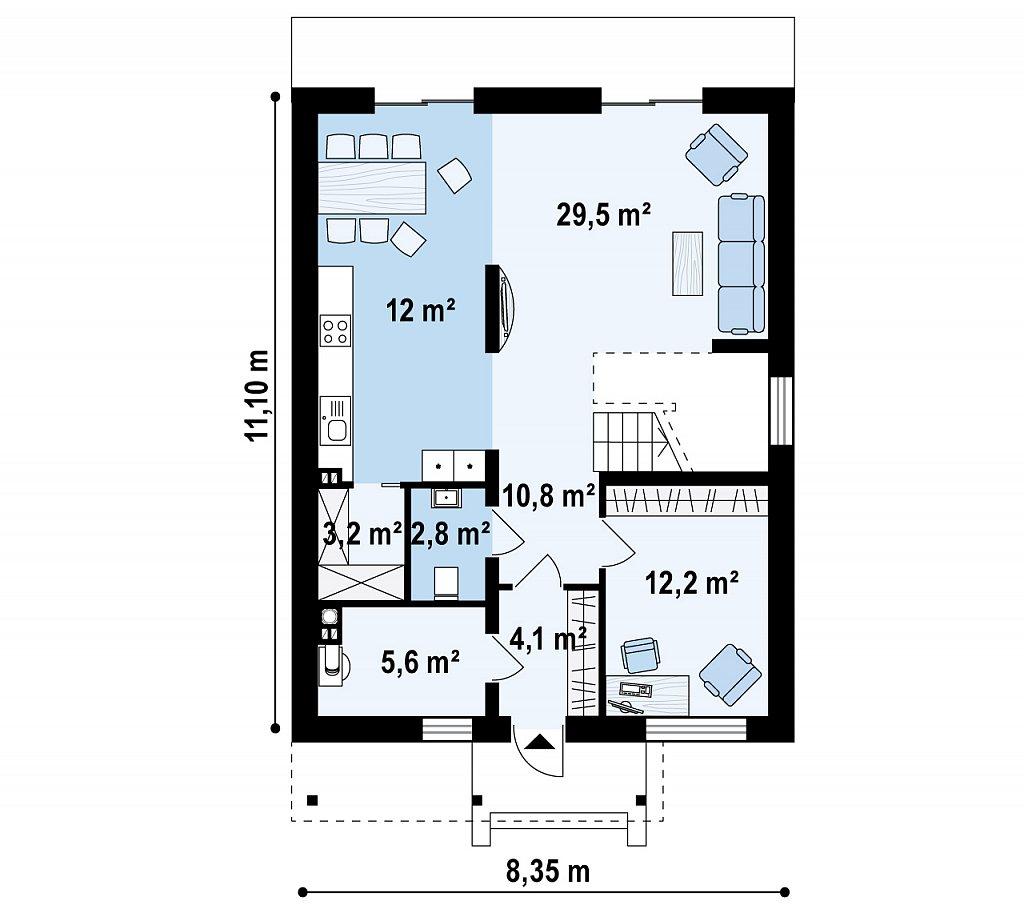 Первый этаж 80,2 м² дома Zx24a