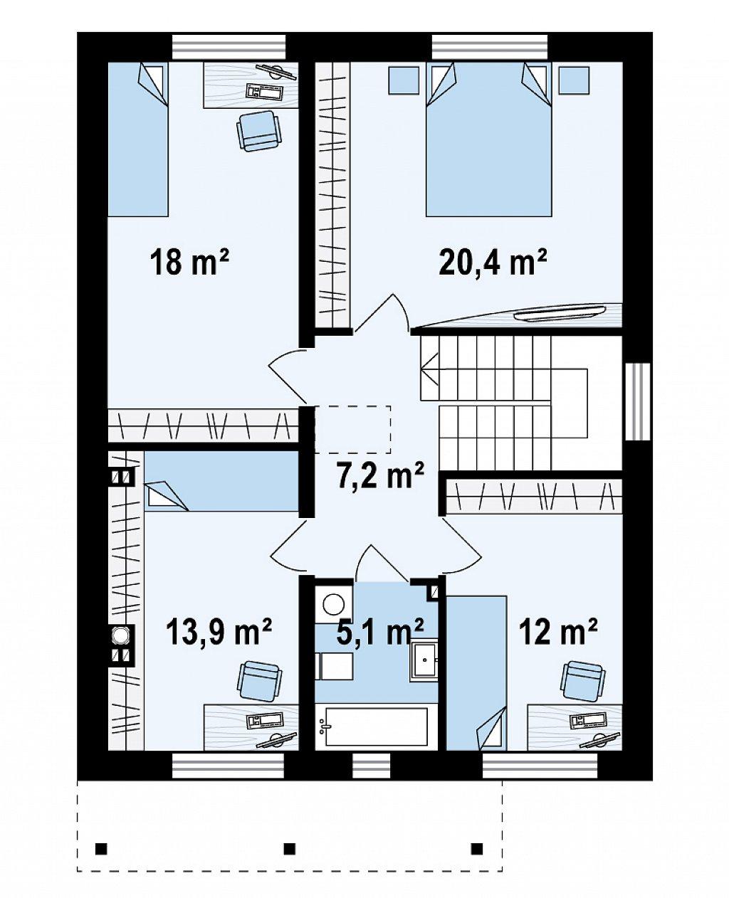Второй этаж 76,6 м² дома Zx24a
