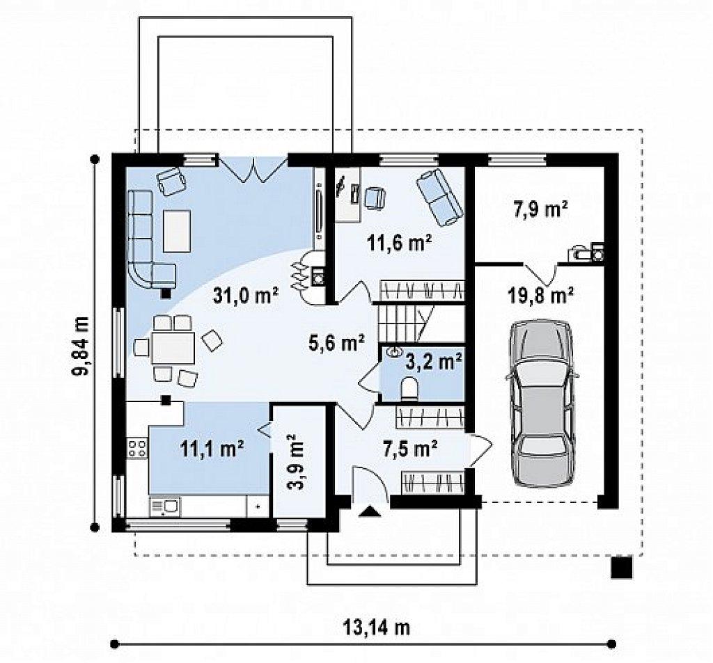 Первый этаж 73,9 / 101,6 м² дома Zx29 S