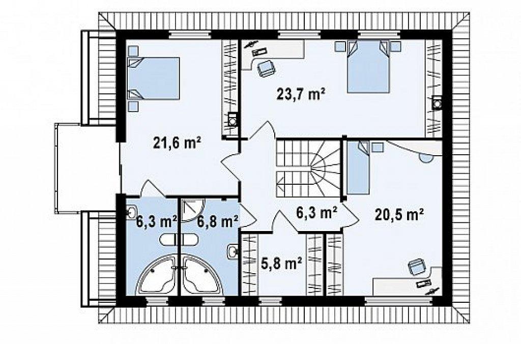 Второй этаж 91,0 м² дома Zx29 S