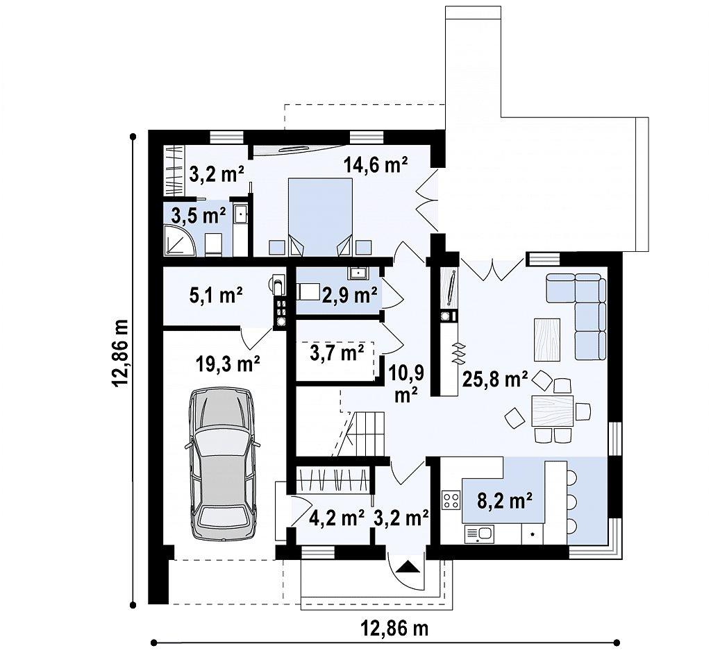 Первый этаж 104,3 м² дома Zx46 —