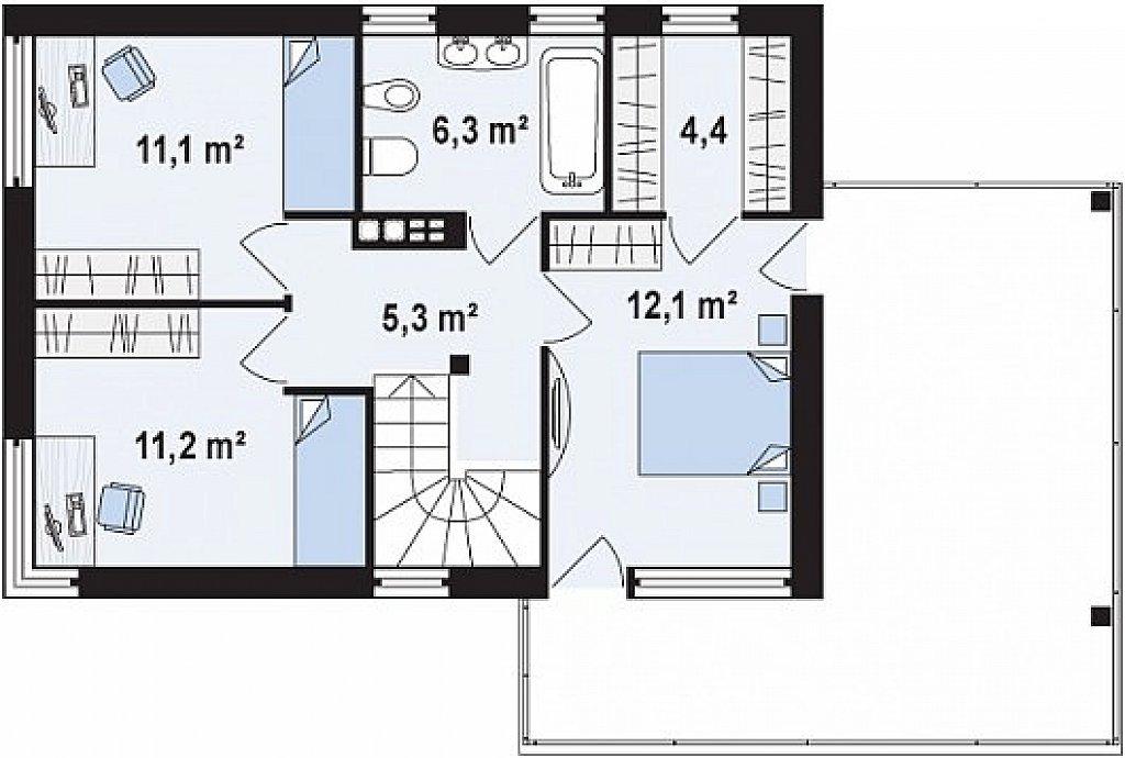 Второй этаж 50,5 м² дома Zx63 s