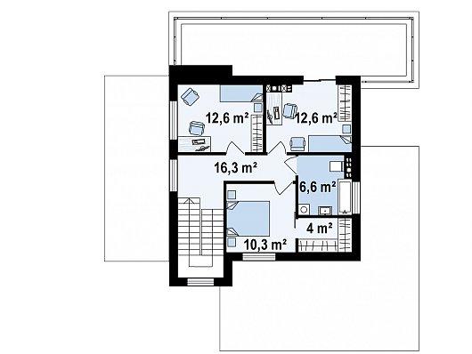 Второй этаж 62,4 м² дома Zx74